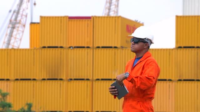 vídeos de stock, filmes e b-roll de coordenador usando a tabuleta digital em recipientes no fundo portuário portuário - utilizar o tablet