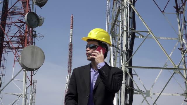 Engineer using smartphone