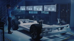 Engineer Wearing Augmented Reality Headset Chooses Body for New Electric Car Concept. 3D Graphics Visualization Shows Vehicle Frame Developing in Real Time into Realistic Concept