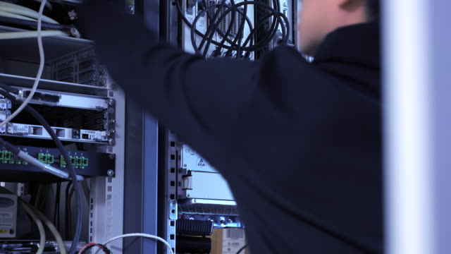 Engineer working at datacenter