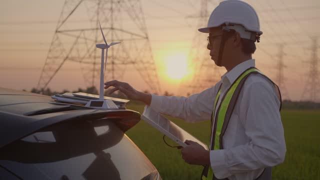 engineer working at sunset - turbine stock videos & royalty-free footage