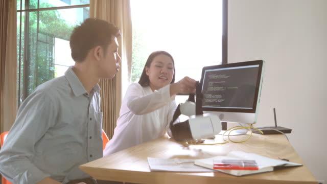 Engineer working on virtual reality development