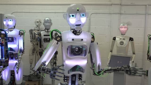 engineered arts recently completed robothespian robot is pictured at the company's headquarters in penryn on may 9, 2018 in cornwall, england.... - cyborg stock videos & royalty-free footage