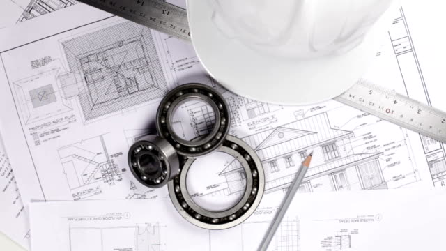 engineering equipments on the blue prints - endurance stock videos & royalty-free footage