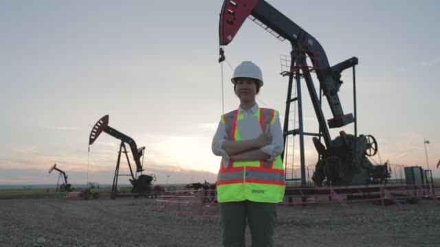 engineering female coordinator supervising petroleum installation - gas stock videos & royalty-free footage