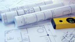 Engineering house drawings and blueprints and building level