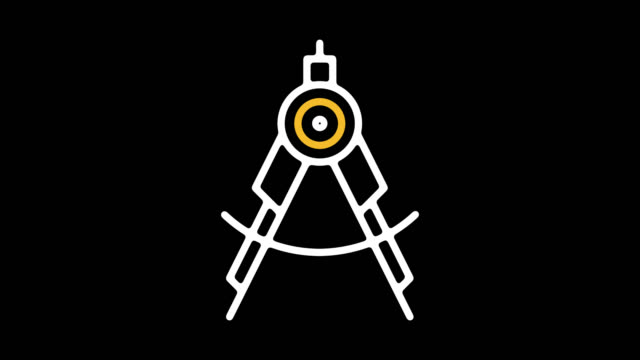 engineering jobs line icon animation with alpha - drawing compass stock videos & royalty-free footage
