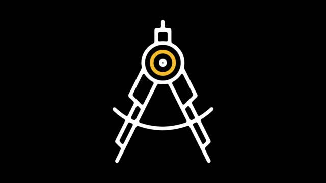 vídeos de stock, filmes e b-roll de engenharia empregos linha ícone animação com alfa - compasso
