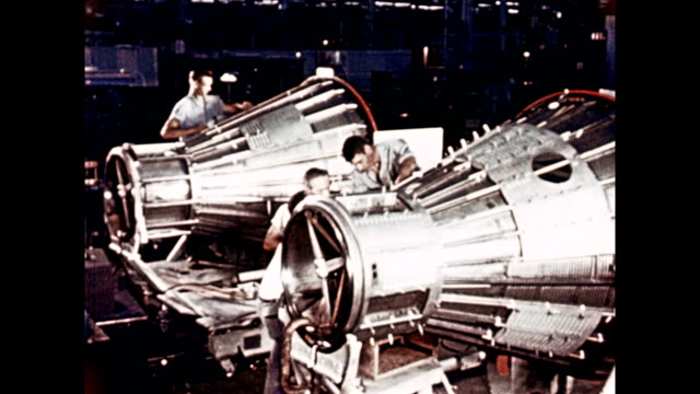 Engineers and technicians working on Project Mercury capsules on January 01 1960