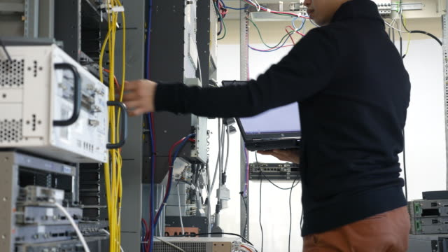 it engineers are working in a data center - computer part stock videos and b-roll footage