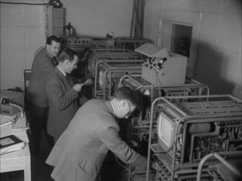 engineers check recording equipment at the new children's television studio at bbc lime grove - television show stock videos & royalty-free footage