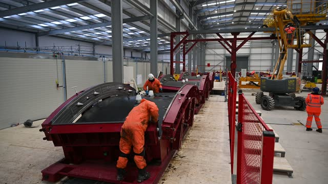 engineers clean moulds for concrete tunnel wall panels construction workers continue work on the entrance to the hs2 chiltern tunnels on december 07... - high speed train stock videos & royalty-free footage