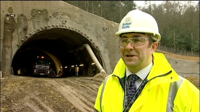 engineers continue work on new hindhead link dual carriageway ext roger bridge interview sot close up of construction worker's tool belt construction... - tool belt stock videos and b-roll footage