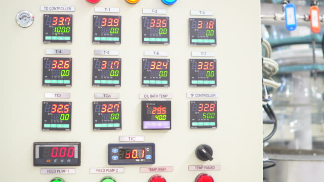 vídeos de stock e filmes b-roll de engineers examining machinery in control room - instrumento de medição