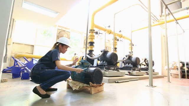 Engineers examining machinery in factory.