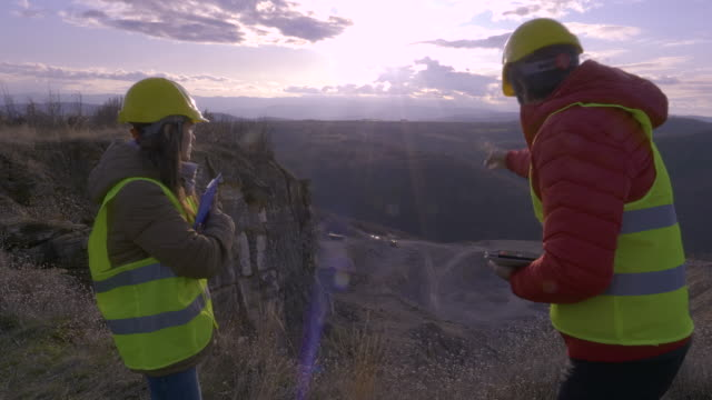 engineers working on a stone quarry. - mining stock videos & royalty-free footage