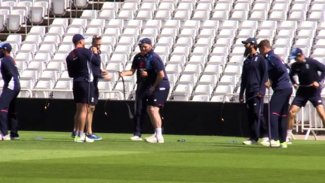 england allrounder ben stokes trains with his england teammates for the first time since being cleared of affray on august 14 ahead of this week's... - national team stock videos & royalty-free footage