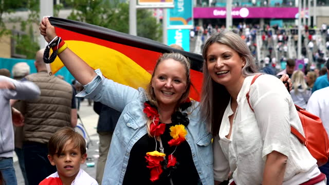 england and germany fans outside wembley stadium before their euro 2020 second round match - excitement stock videos & royalty-free footage