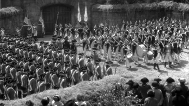 england and hessian soldiers stand at attention in a courtyard, and a marching band begins to lead a procession. - 1934 stock videos & royalty-free footage