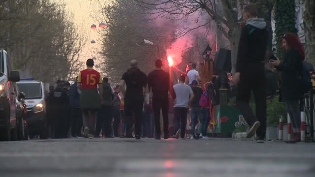 england and montenegro football fans outside stadium before euro 2020 qualifier in podgorica - national team stock videos & royalty-free footage