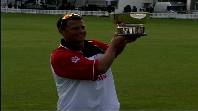 England and Pakistan train ahead of first test ITN London Lords EXT Darren Gough holding up silver cup for photocall