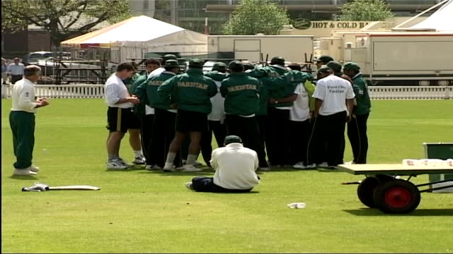 England and Pakistan train ahead of first test ITN London Lords EXT Lords ground ZOOM IN groundsmen preparing grounds / Pakistani cricketers carrying...