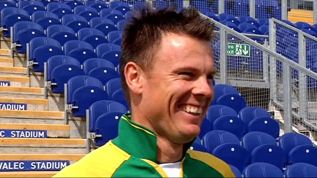 england and south africa cricketers prepare for one day international in cardiff johan botha interview sot praises england team new energy from kevin... - leapfrog stock videos & royalty-free footage