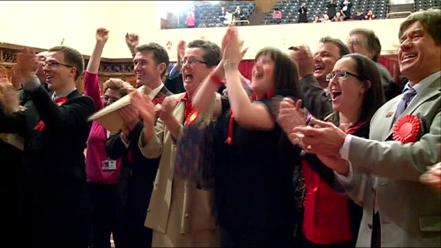 politics / england and wales local elections 2012 labour make gains hampshire southampton labour supporters and candidates cheer and applaud at... - southampton hampshire stock-videos und b-roll-filmmaterial