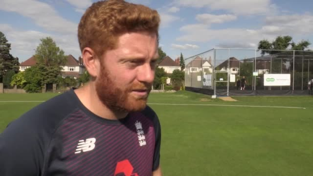 england batsman jonny bairstow trains with the birmingham vision partiallysighted cricket team ahead of the first specsavers ashes test against... - cricket stock videos & royalty-free footage