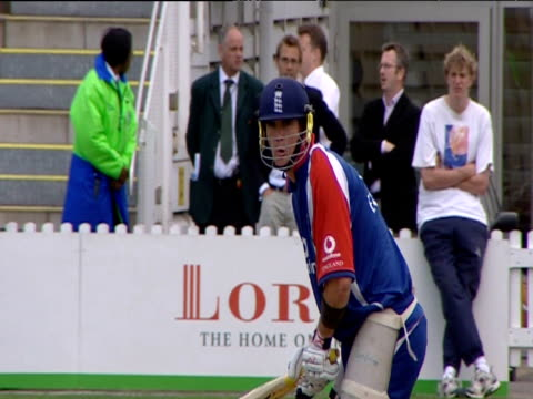 england batsman kevin pietersen plays late cut shot during training session before first ashes test match lord's nursery ground london jul 05 - 2005 stock videos and b-roll footage