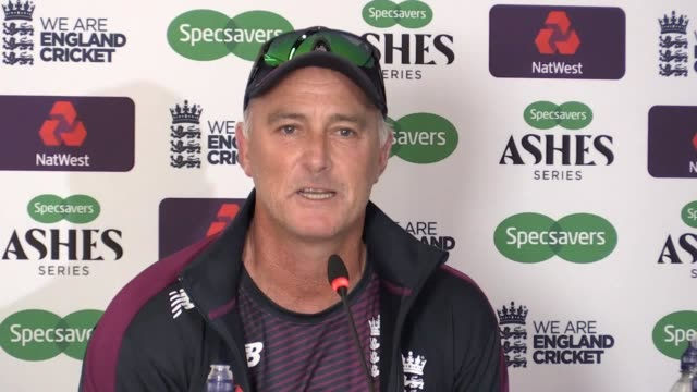 england batting coach graham thorpe speaks to the press after his team struggle to make up runs against australia in the second test of the ashes... - graham thorpe stock videos and b-roll footage