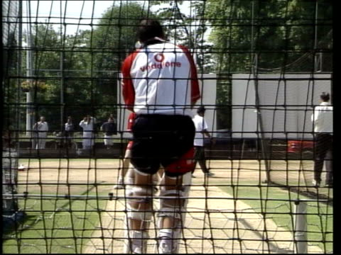 england bowler robert croft bowling in the nets england bowler andy caddick t30100115 - croft stock videos & royalty-free footage