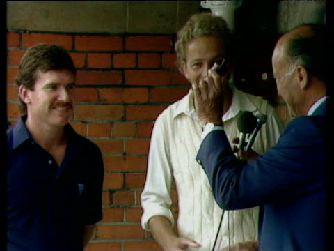 england captain david gower is presented with replica of ashes trophy following 3-1 series win, england vs australia, ashes test series, the oval,... - ashes test stock videos & royalty-free footage