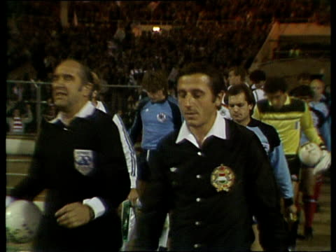 england captain ray wilkins and west germany captain karlheinz rummenigge lead teams out for international friendly england vs west germany wembley... - international match stock videos & royalty-free footage