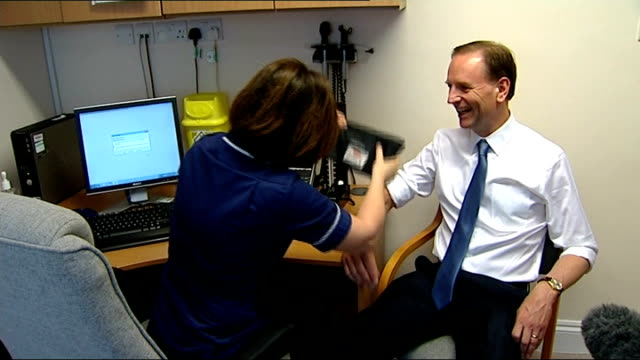nhs england chief executive unveils fiveyear plan 142014 / r01041420 county durham shotley bridge hospital simon stevens photocall as having his... - county durham england stock videos & royalty-free footage
