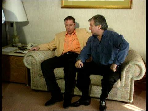 England coach Terry Venables visits Paul Gascoigne in Rome ITN Rome Paul Gascoigne sat on sofa with Terry Venables CMS Gascoigne talking and smiling...