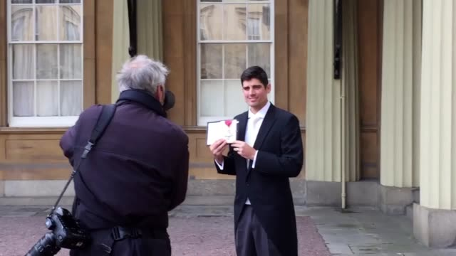 """england cricket captain alastair cook has described being appointed a cbe by the prince of wales as a """"very proud moment"""". the sportsman who has led... - batsman stock videos & royalty-free footage"""