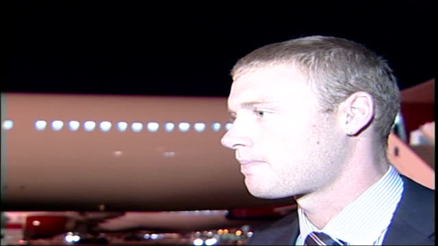 England Cricket team at Heathrow airport / Photocall on plane steps Andrew Flintoff interview SOT Excited about leaving for Australia / Pressure's...