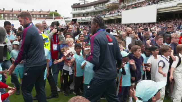 england cricket team meet children and their families at the oval the day after their world cup final win - world sports championship stock videos & royalty-free footage