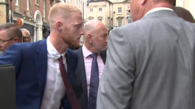 england cricketer ben stokes arriving at bristol law courts following an assault at a bristol nightclub - 自衛点の映像素材/bロール