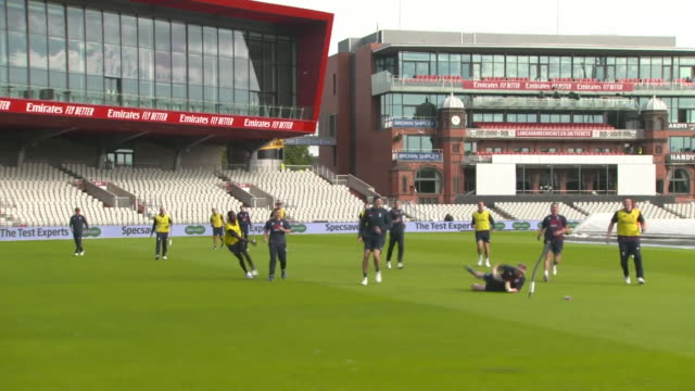 england cricketers playing football at old trafford cricket ground - sporting term stock videos & royalty-free footage