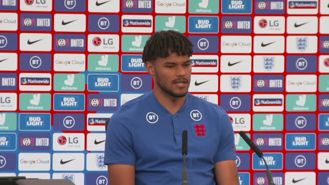 england defender tyrone mings saying the squad are aware of the rivalry with scotland but are just aiming to win the game - determination stock videos & royalty-free footage