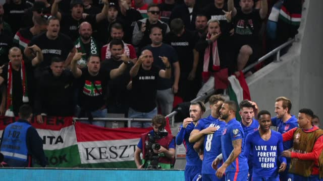 england eased past hungary in budapest thursday, scoring four second-half goals in a rampant display that propels gareth southgate's men towards... - report produced segment stock videos & royalty-free footage