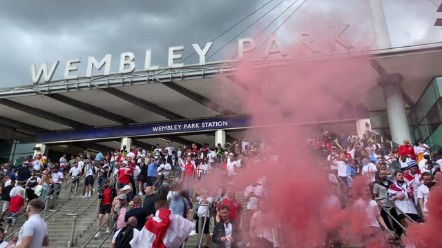 england fan arrive at wembley stadium for the 2021 uefa european football championship final match between england and italy. - italy stock videos & royalty-free footage