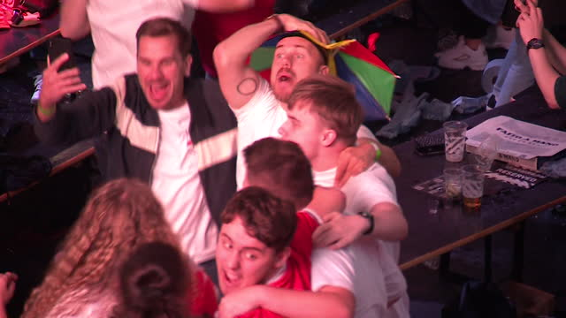 england fans celebrating victory over denmark in the euro 2020 semi-final - symbol stock videos & royalty-free footage