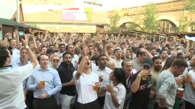 england fans gather in london to support the england football team as they take on croatia in the semi finals of the wc 2018 - semifinal round stock videos & royalty-free footage