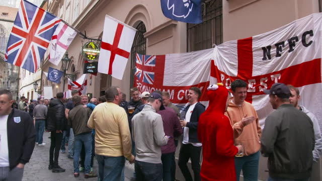 england fans in prague before the euro 2020 qualifier against the czech republic - capital cities stock videos & royalty-free footage