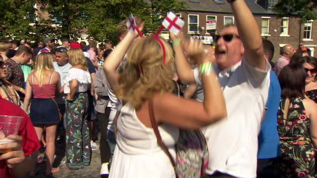 england fans in sunderland celebrate england's world cup win over sweden - fifa world cup 2018 stock videos & royalty-free footage
