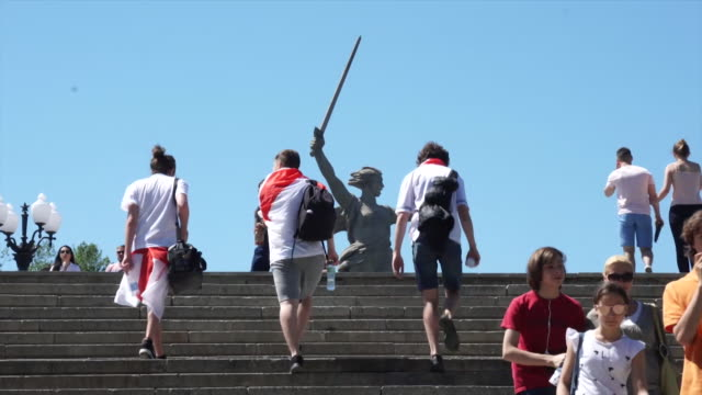 england fans in volgograd russia before the national team's opening world cup 2018 match against tunisia - volgograd stock videos & royalty-free footage