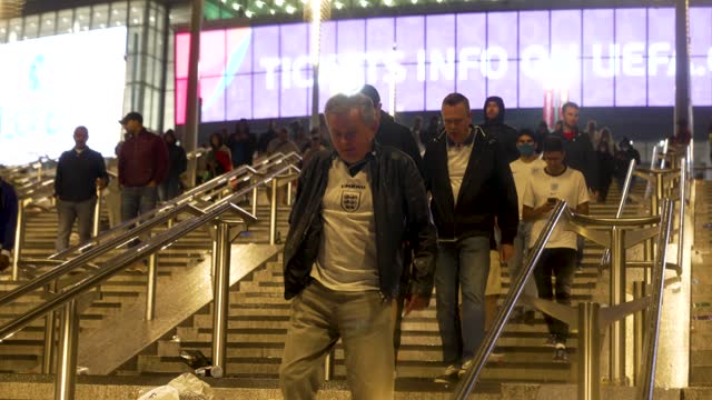 england fans leave wembley stadium uefa euro 2020 championship final match between england and italy on july 11, 2021 in london, united kingdom. - italy stock videos & royalty-free footage